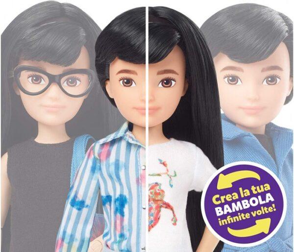 Createable World  Creatable World, Bambola Personalizzabile con Capelli Lisci Neri e Accessori