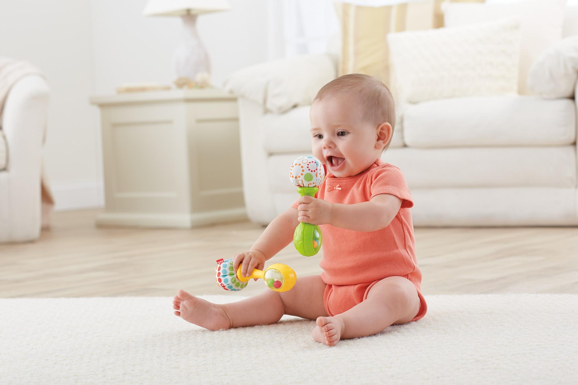 Fisher-price le maracas per neonati con impugnature soffici, rafforza le capacità motorie e sensoriali, bambini di 3 + mesi - FISHER-PRICE