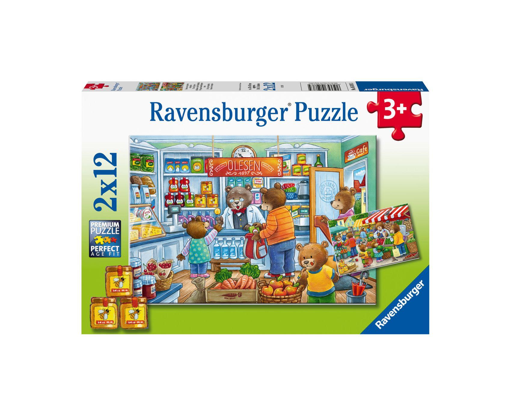 Ravensburger puzzle 2x12 - andiamo a fare shopping -