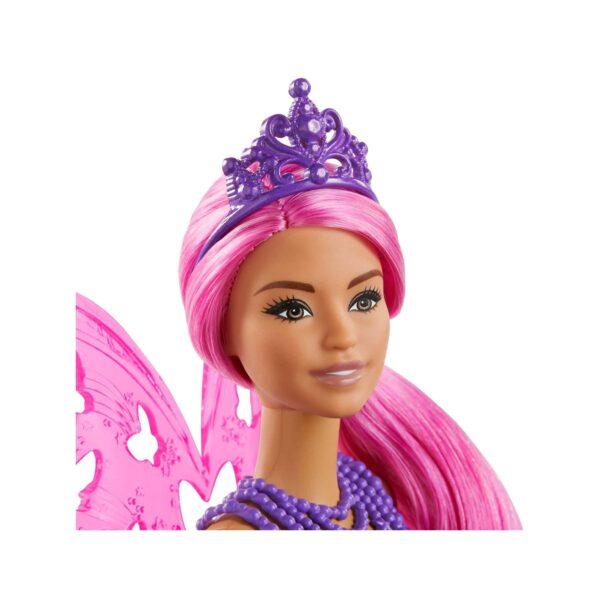 Barbie Dreamtopia, Bambola Fatina con Capelli e Ali Rosa, 3+ Anni Barbie
