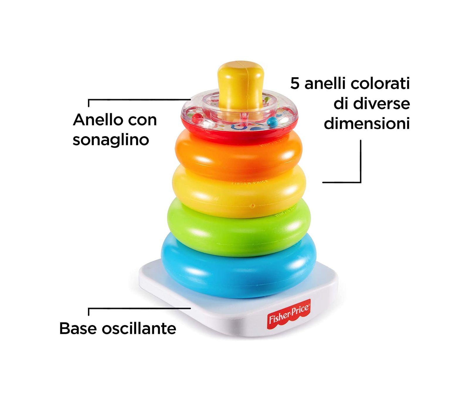 Fisher-price, piramide 5 anelli, giocattolo impilabile per bambini 6+ mesi - FISHER-PRICE