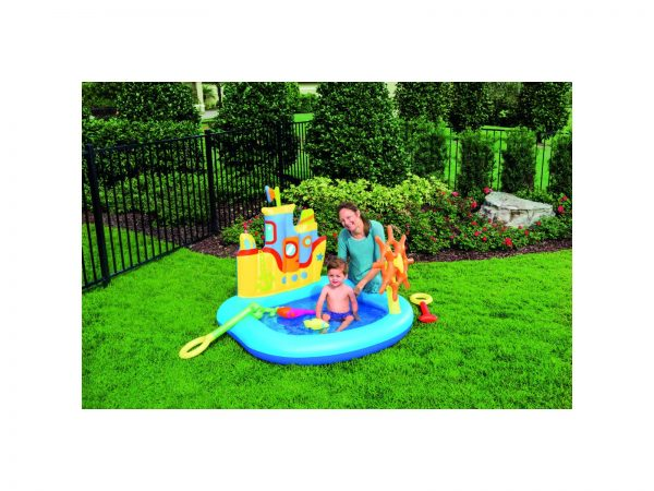 BESTWAY PLAY CENTER NAVE 140X130X104 CM CON PESCI E ACCESSORI GONFIABILI
