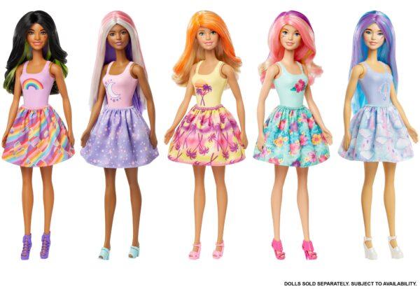 Barbie- Color Reveal Assortimento a Sorpresa, Vestito e Acconciatura a Tema Natura, Wave 3