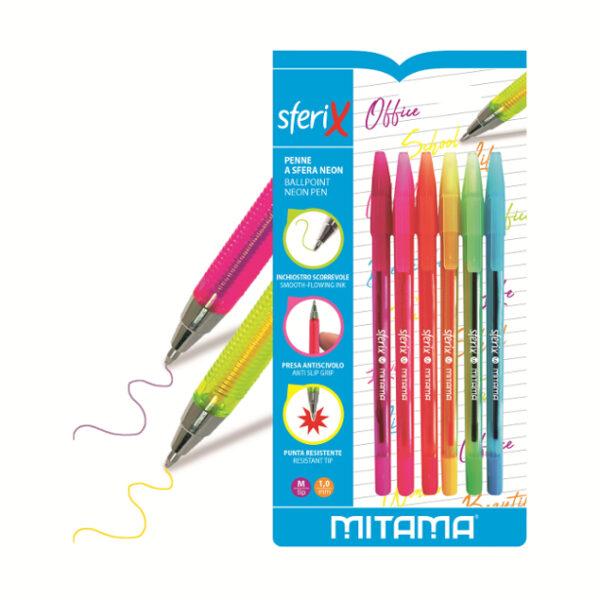 Penna Sfera Sferix Mitama Colori Neon pz 6