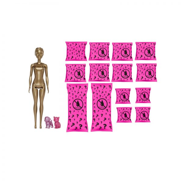 Barbie- Color Reveal set Bambola con 25 Sorprese, tra cui 2 Cuccioli e Look Trasformabile da Giorno a Sera    Barbie