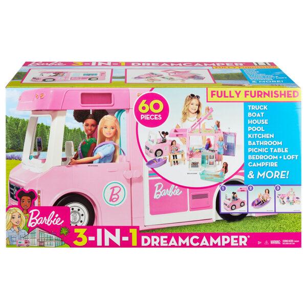 Barbie- Camper dei Sogni 3 in 1, Playset con 3 Veicoli e 50 Accessori Barbie