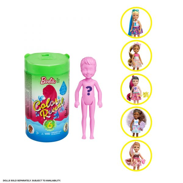 Barbie  Mattel Barbie- Color Reveal Bambola Chelsea Assortimento a Sorpresa, Vestito e Acconciatura
