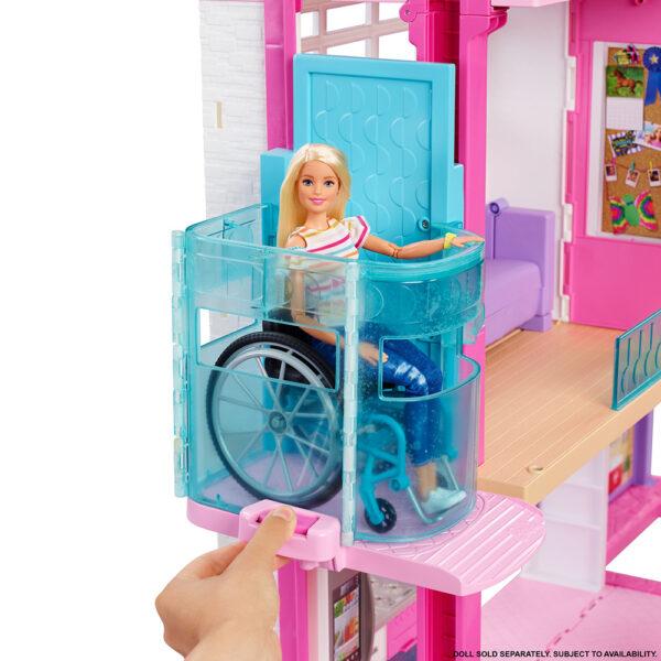 Barbie   Barbie- Casa dei Sogni per Bambole con Ascensore per Disabili, 3 Piani, Piscina, Scivolo e 70 Accessori