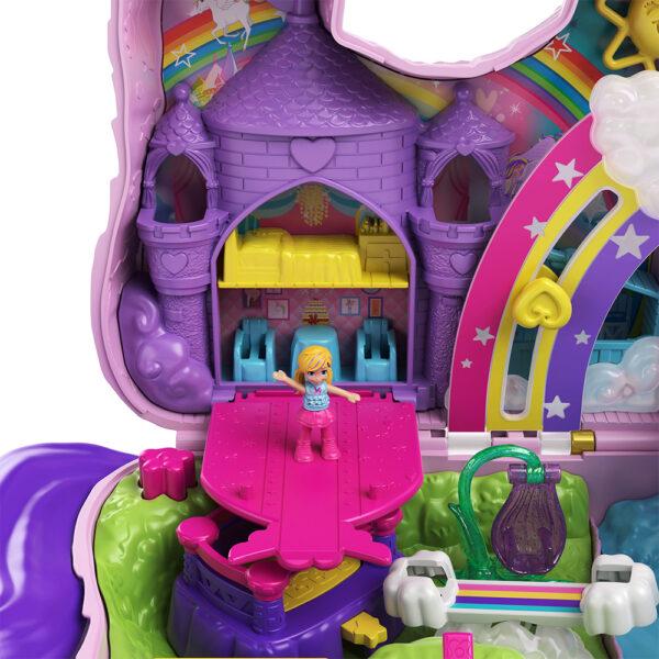 Polly Pocket   Polly Pocket- Unicorno Magiche Sorprese Playset con Micro Bambole Polly e Lila, Accessori