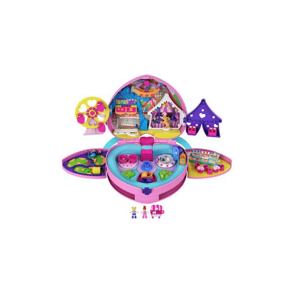 Polly Pocket- Zainetto dei segreti, 2 Micro Bambole, Carretto dei Gelati e Giostre Polly Pocket