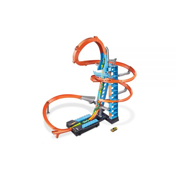 ​Hot Wheels- Sky Crash Tower Pista Alta 60cm con Booster Motorizzato e Macchinina Hot Wheels