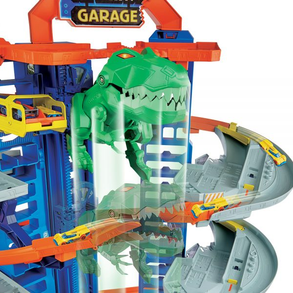 Hot Wheels  Hot Wheels - Ultimate Garage, Assalto del T-Rex Robot, con 2 Macchinine incluse, può Contenere più di 100 Macchinine
