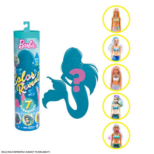 Barbie- Color Reveal Assortimento a Sorpresa Tema Sirena, Vestito e Acconciatura    Barbie
