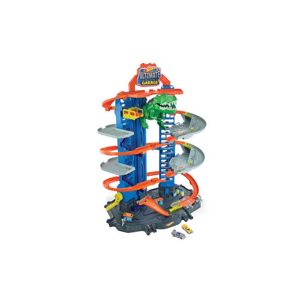 Hot Wheels- Assalto del T-Rex Robot al Mega Garage Multipiano, 2 Veicoli Inclusi, può Contenere più di 100 Macchinine Hot Wheels