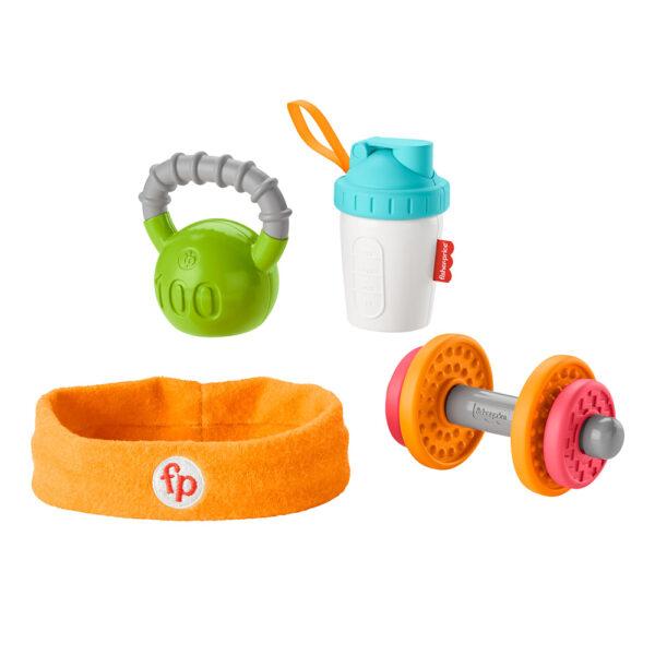 FISHER-PRICE   Fisher-Price- Set Regalo Baby Muscoli, 4 Giocattoli a Tema Fitness con Pesetti e Massaggiagengive