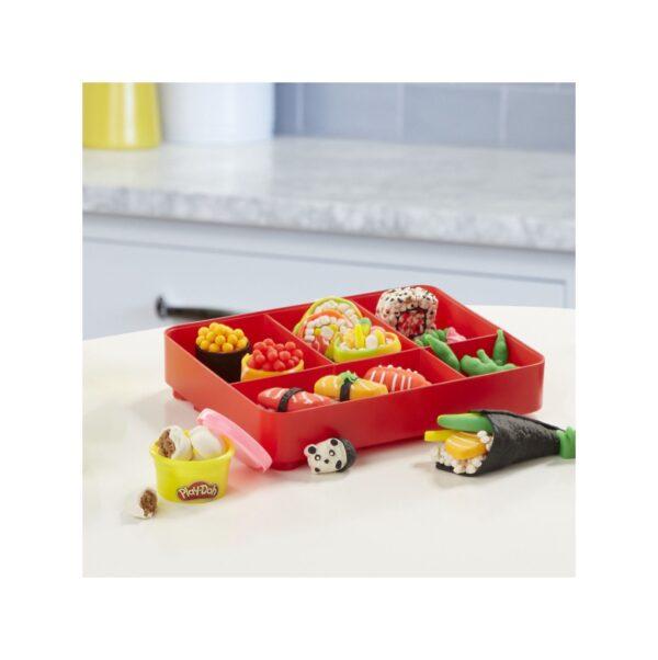 Play-Doh - Sushi (playset con 9 vasetti di pasta da modellare e bento box, linea Kitchen Creations)