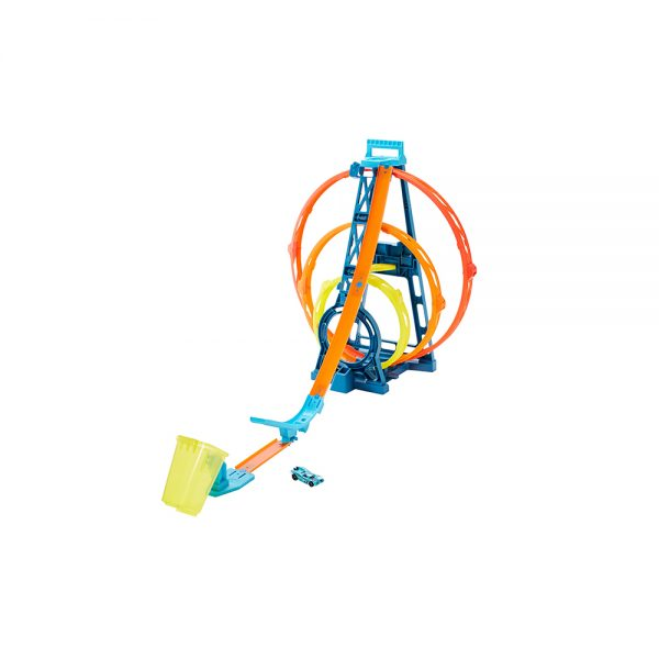 Hot Wheels- Track Builder, Playset Pista Triple Loop con Veicolo Incluso Hot Wheels
