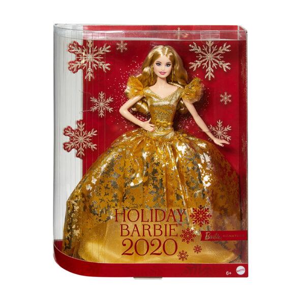 Barbie- Signature Magia delle Feste 2020, Bambola da 30.5 cm Bionda con Abito Dorato, Piedistallo e Certificato di Autenticità    Barbie