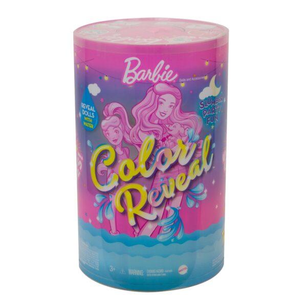 Barbie   Barbie- Color Reveal con oltre 50 Sorprese, Inclusi 2 Bambole, 3 Animaletti e 36 Accessori a Tema Pigiama Party
