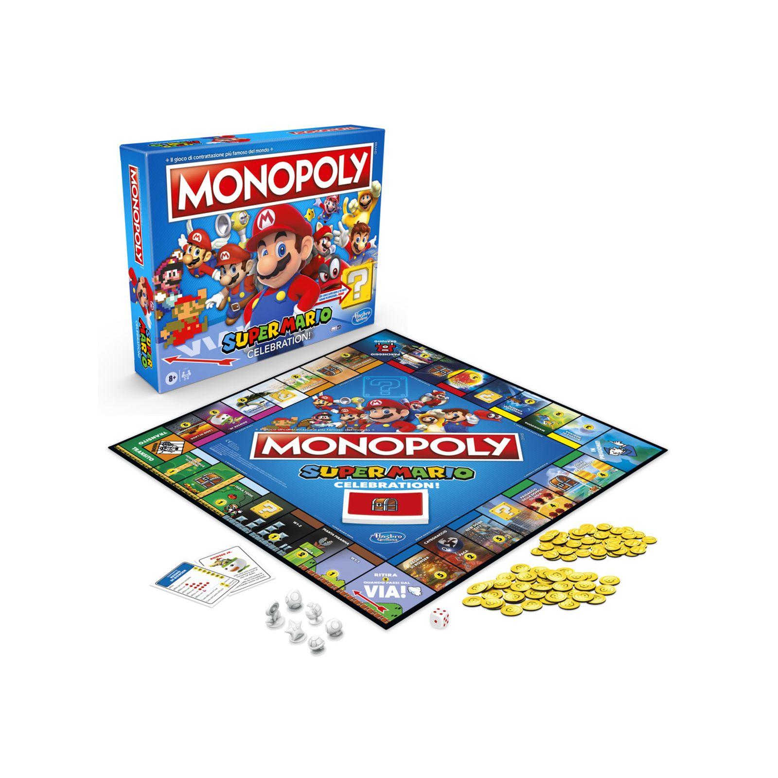 Monopoly gioco in scatola, edizione super mario celebration, per i fan di super mario, dagli 8 anni in su, con effetti sonori del videogioco - Super Mario