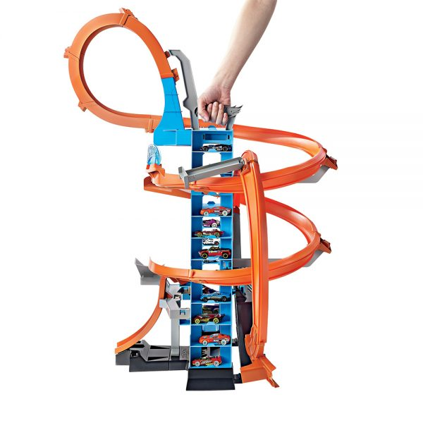 Hot Wheels  ​Hot Wheels- Sky Crash Tower Pista Alta 60cm con Booster Motorizzato e Macchinina