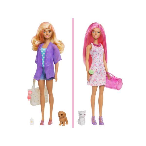 Barbie  Barbie- Color Reveal set Bambola con 25 Sorprese, tra cui 2 Cuccioli e Look Trasformabile da Giorno a Sera
