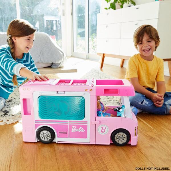 Barbie  Barbie- Camper dei Sogni 3 in 1, Playset con 3 Veicoli e 50 Accessori