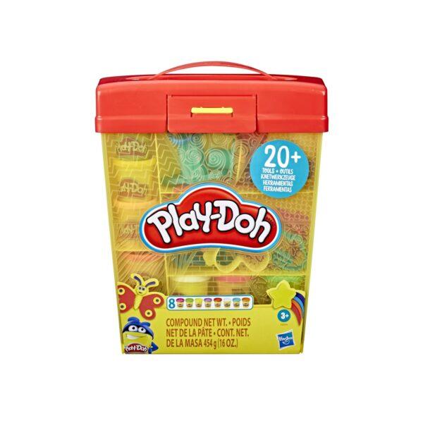 Play-Doh - Secchiello Deluxe (Playset con 8 vasetti di pasta da modellare, accessori e custodia).