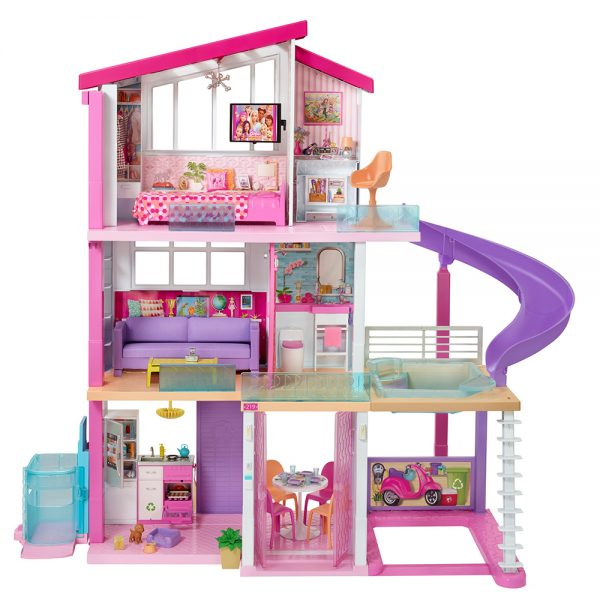 Barbie- Casa dei Sogni per Bambole con Ascensore per Disabili, 3 Piani, Piscina, Scivolo e 70 Accessori Barbie