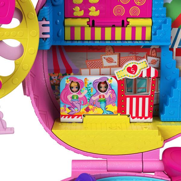 Polly Pocket  Polly Pocket- Zainetto dei segreti, 2 Micro Bambole, Carretto dei Gelati e Giostre