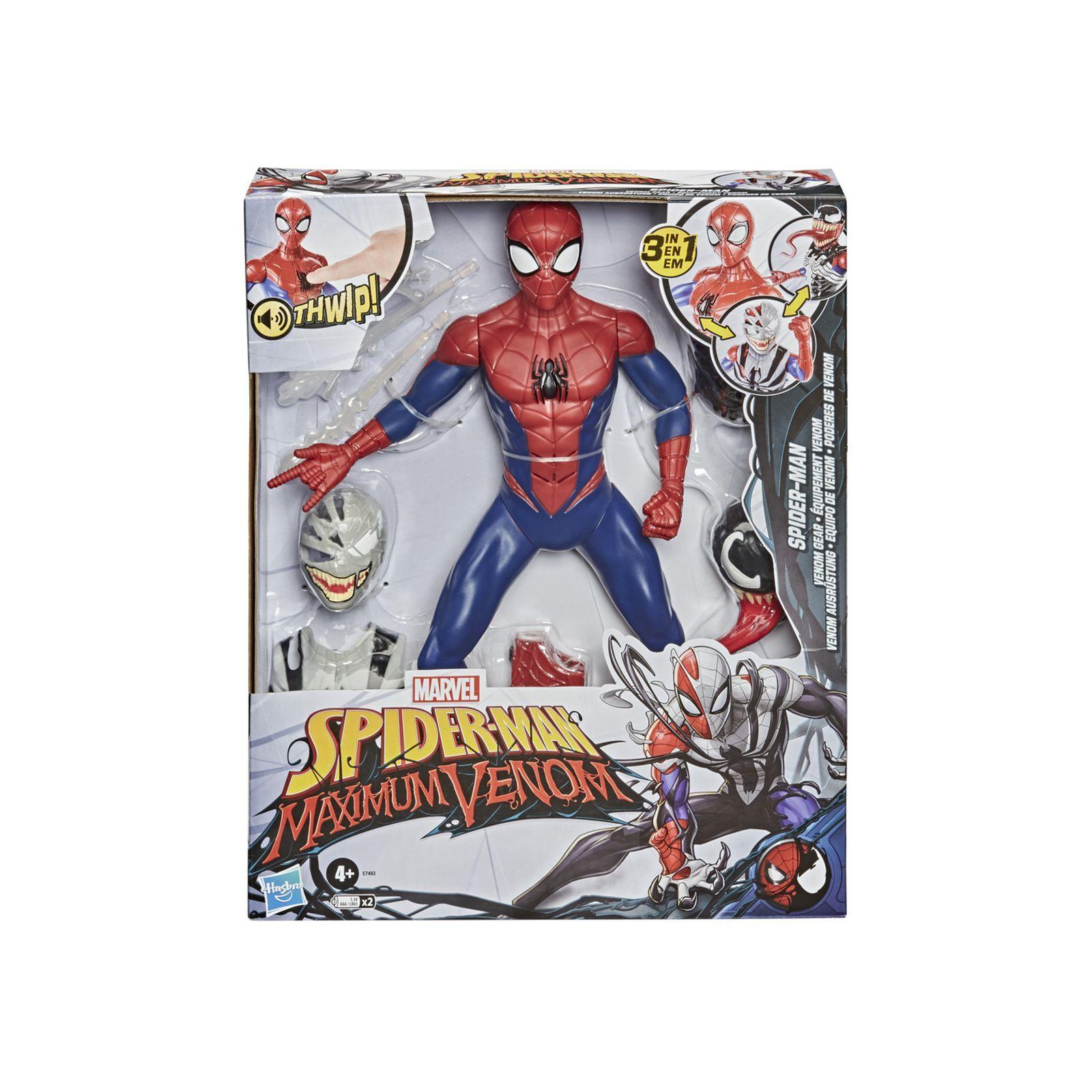 Spider-man - spider-man venom gear (action figure 30 cm con suoni e frasi, include i costumi venom e simbionte, ispirato alla serie spider-man maximum venom) -