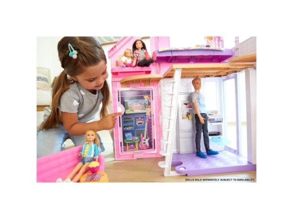 Barbie- Casa di Malibu, Playset Richiudibile su Due Piani con Accessori