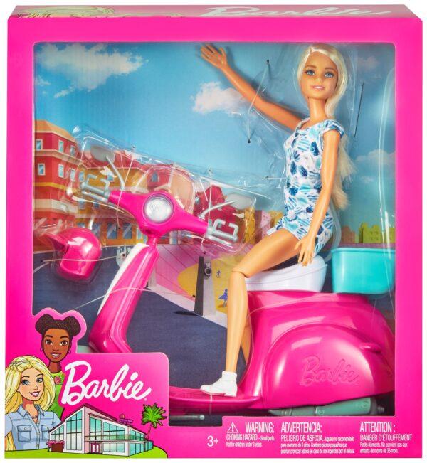 Barbie– Bambola Bionda con Scooter Rosa e Accessori, 3+Anni   Barbie
