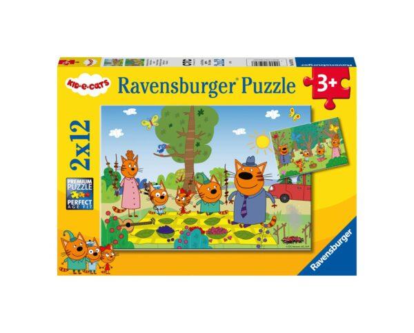 RAVENSBURGER - PUZZLE 2X12 PEZZI - CURIOSO COME KID E CATS Ravensburger1