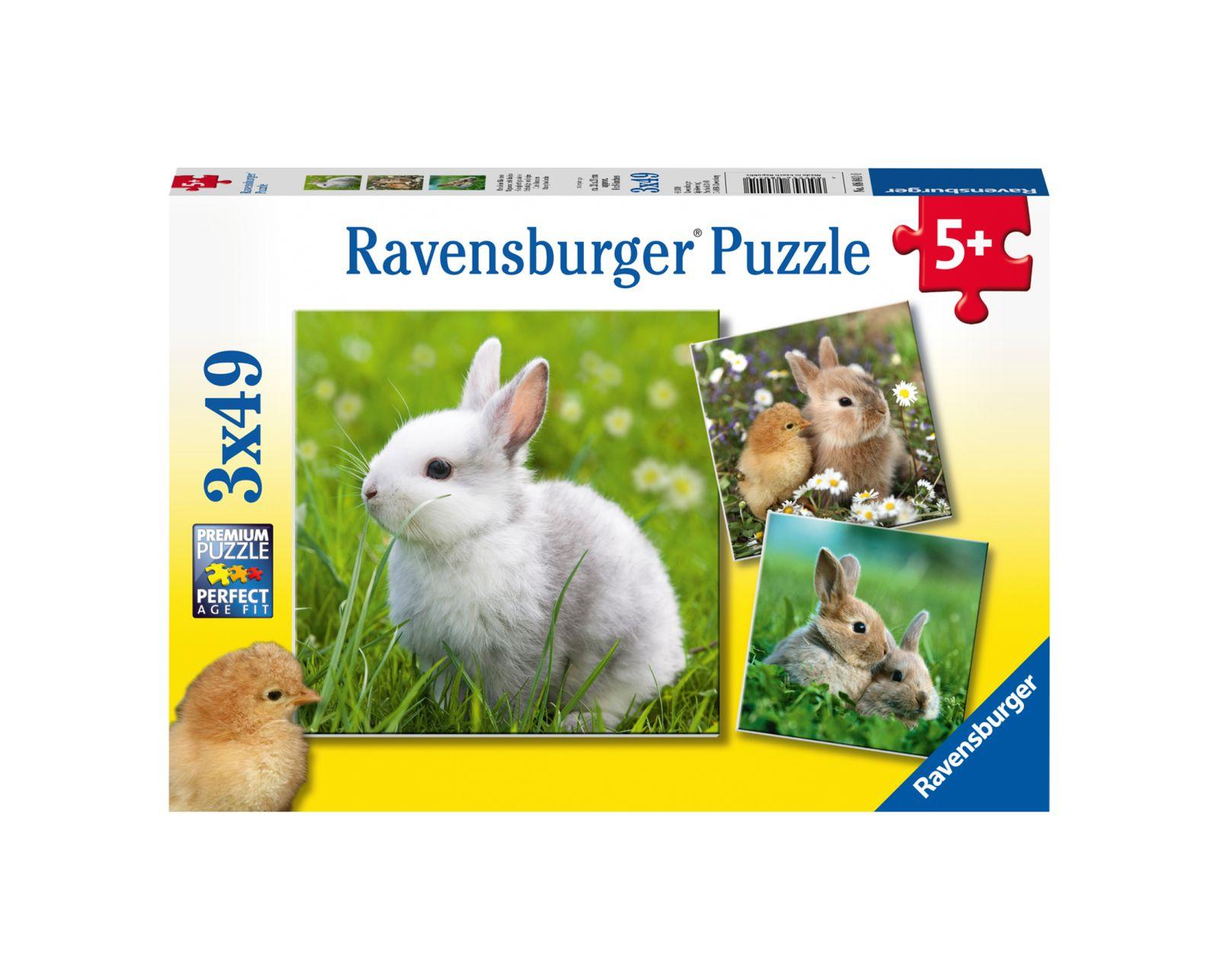 Ravensburger - puzzle 3x49 pezzi - teneri coniglietti - Ravensburger1