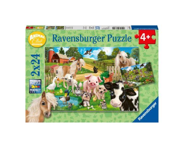 RAVENSBURGER - PUZZLE 2X24 PEZZI - ANIMAL CLUB Ravensburger1