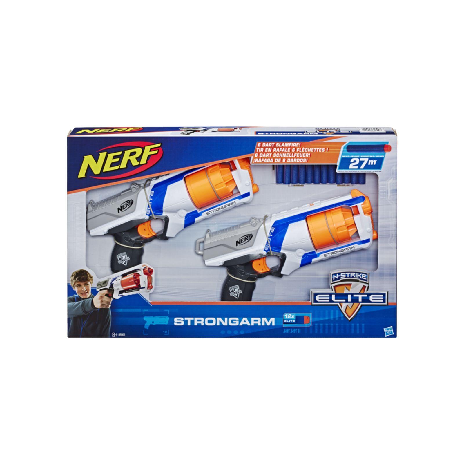 Nerf elite - strongarm (canna rotante con lanci a raffica, confezione da 2 blaster e 12 dardi originali nerf elite inclusi) - NERF