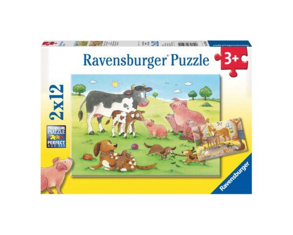 RAVENSBURGER - PUZZLE 2X12 PEZZI - GLI ANIMALI DELLA FATTORIA Ravensburger1