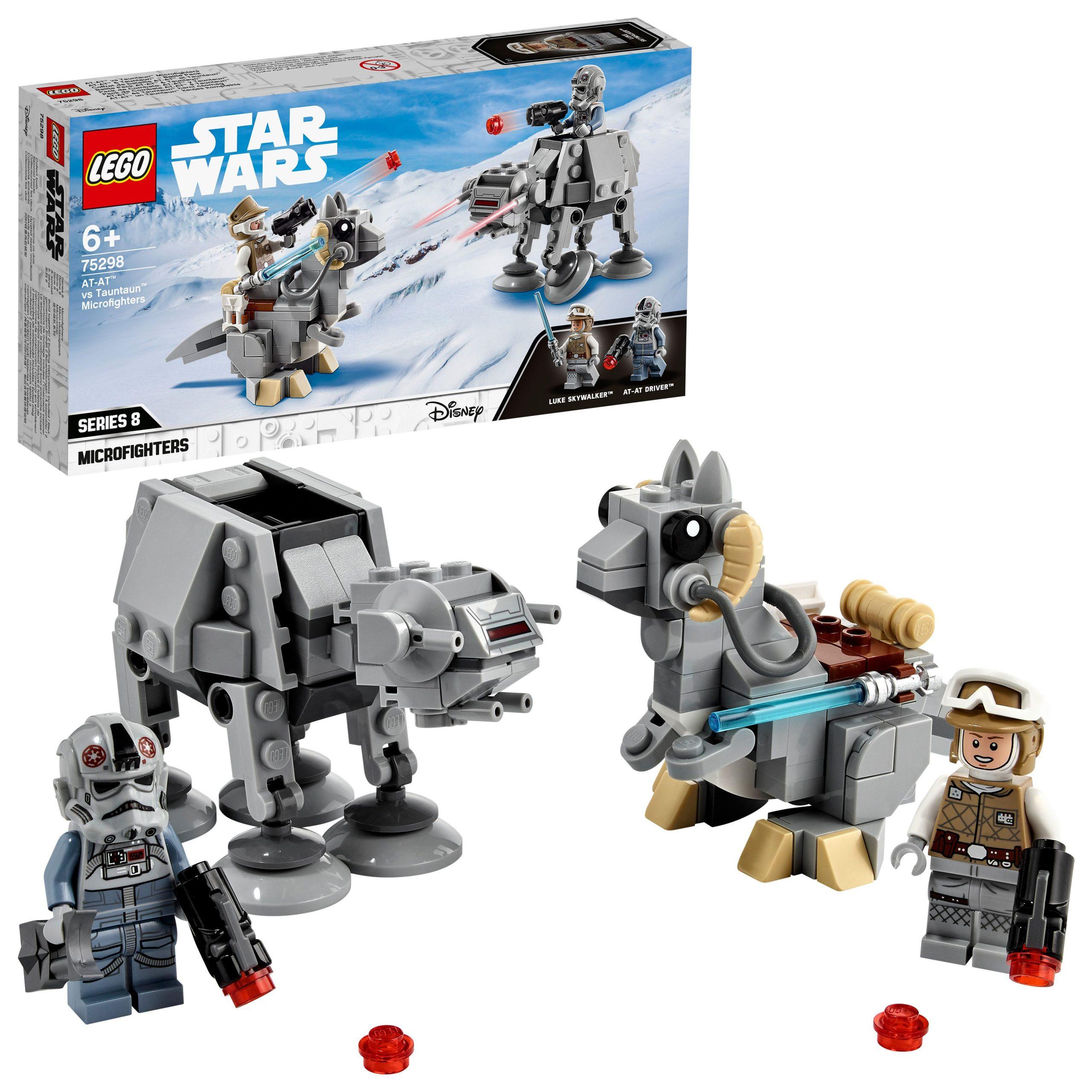 Lego star wars microfighter at-at vs tauntaun, set di costruzioni con minifigure di luke skywalker e del pilota, 75298 - Lego