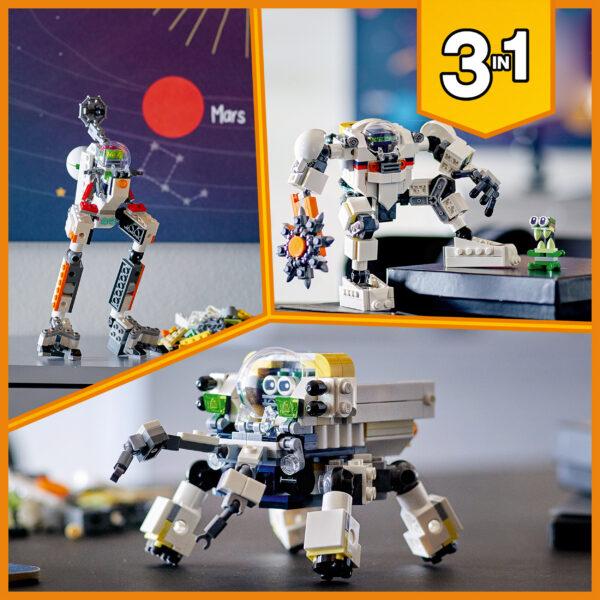 LEGO Creator 3 in 1 Mech per Estrazioni Spaziali, Robot Spaziale e Vettore Cargo, Set di Costruzioni con Alieno, 31115   LEGO CREATOR