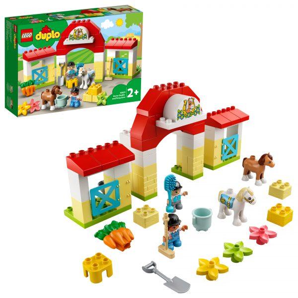 LEGO DUPLO Town Maneggio, Giocattoli per Bambini 2+ Anni, Playset con Stalla e Pony, Giochi Prima Infanzia, 10951 LEGO DUPLO