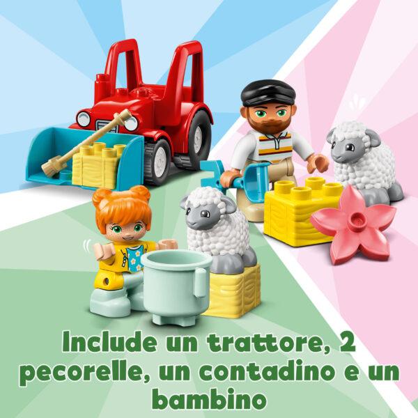 LEGO DUPLO  LEGO DUPLO Town Il Trattore della Fattoria e i suoi Animali, Giocattoli per Bambini 2+ Anni con Contadino e Pecorelle, 10950
