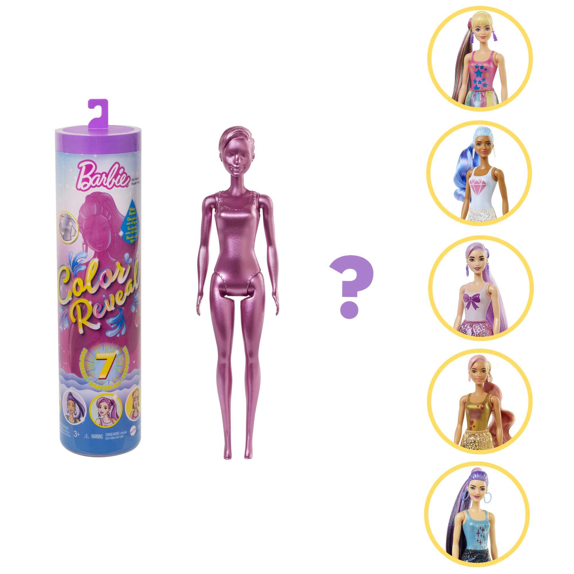 barbie color reveal serie metallic, bambola con 7 sorprese, assortimento casuale, 3+anni - Barbie