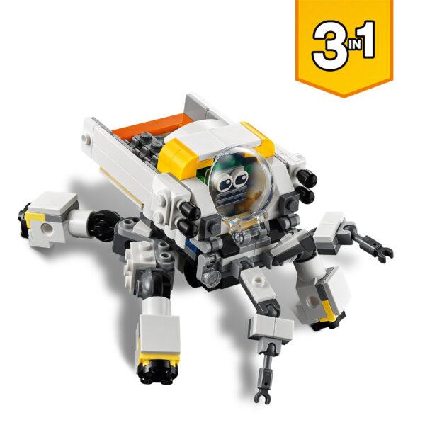 LEGO CREATOR   LEGO Creator 3 in 1 Mech per Estrazioni Spaziali, Robot Spaziale e Vettore Cargo, Set di Costruzioni con Alieno, 31115