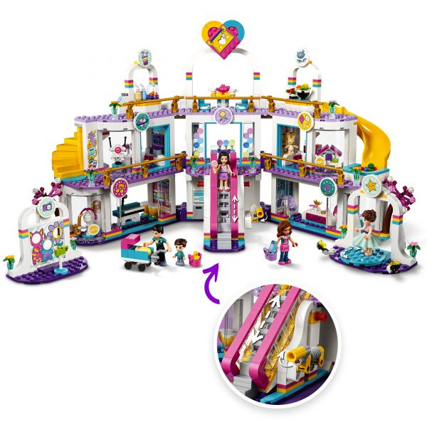 LEGO FRIENDS  LEGO Friends Il Centro Commerciale di Heartlake City, Playset con 5 Negozi, 4 Mini-doll, una Micro-doll e un Bebè, 41450