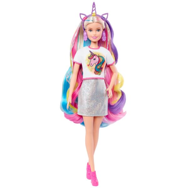 Barbie Bambola Capelli Fantasia a Tema Unicorni e Sirene con Accessori, 3+ Anni    Barbie