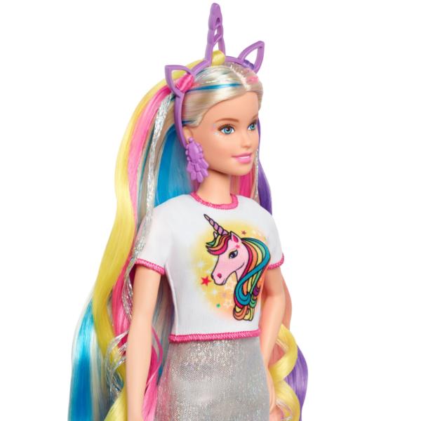 Barbie  Barbie Bambola Capelli Fantasia a Tema Unicorni e Sirene con Accessori, 3+ Anni