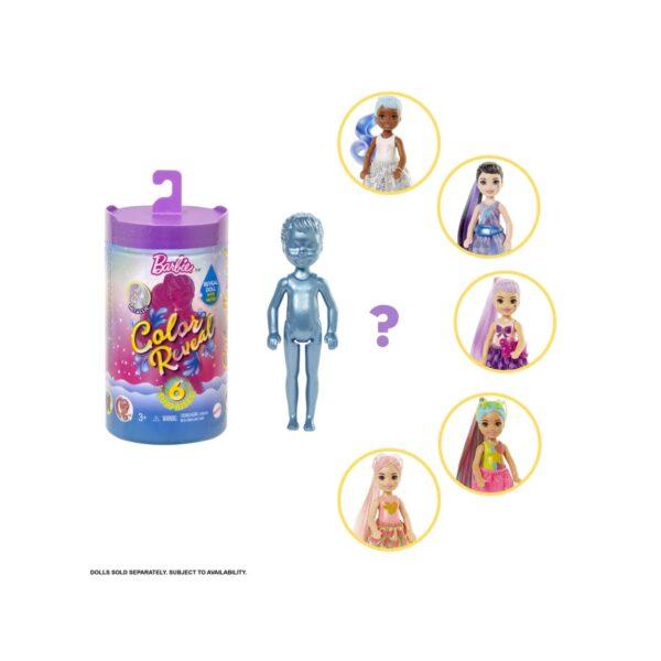 BARBIE COLOR REVEAL BAMBOLA CHELSEA SERIE GLITTER CON 6 SORPRESE, ASSORTIMENTO CASUALE, PER BAMBINI DA 3+ANNI Barbie