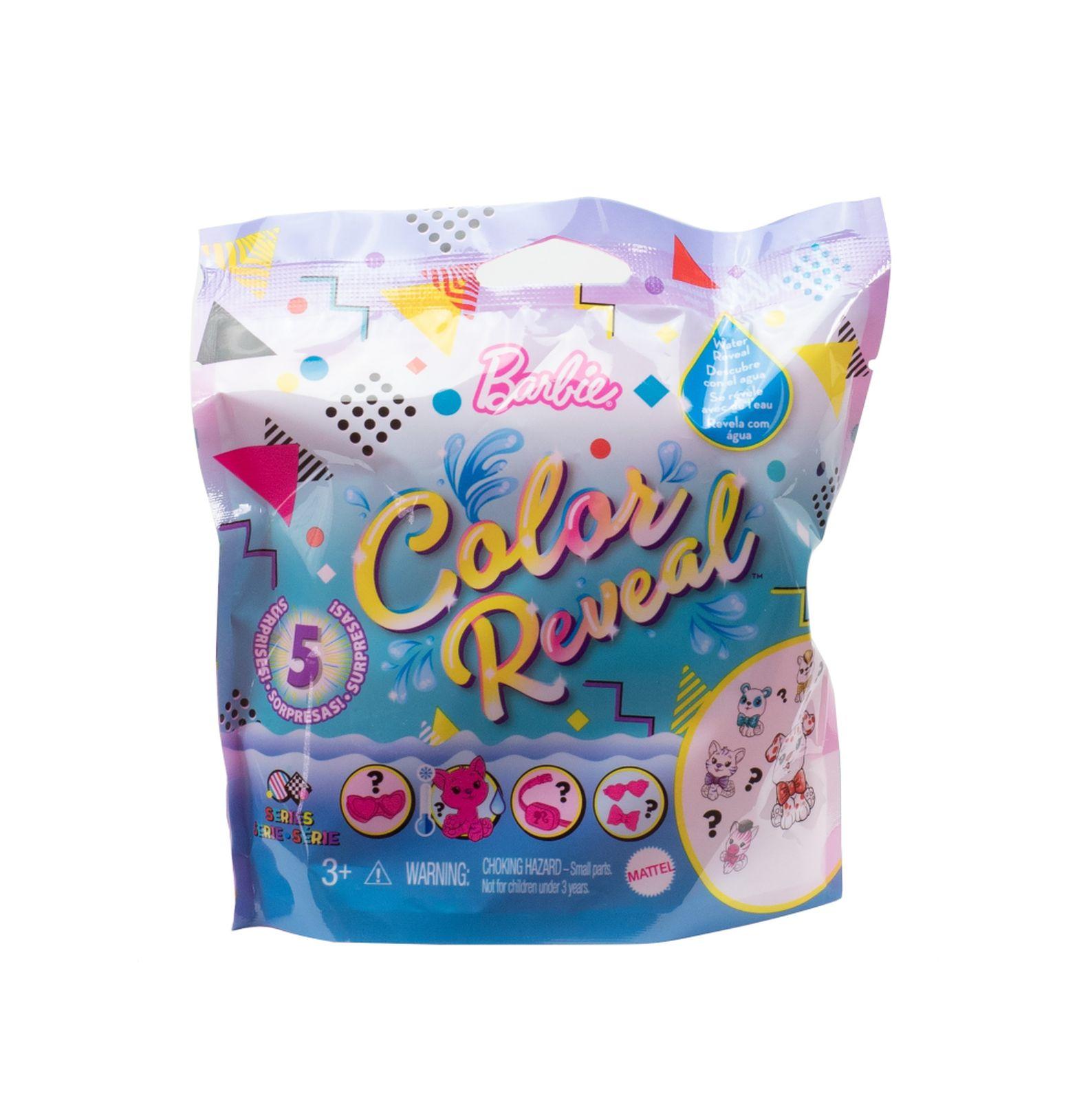 Barbie color reveal, serie a tema animali, cuccioli con 5 sorprese e accessori, 3+anni - Barbie
