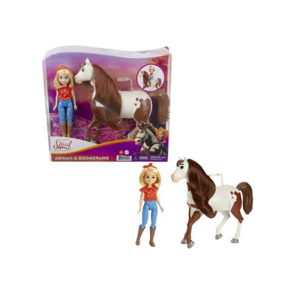 Spirit – Bambola Abigail con il Suo Cavallo Boomerang, Snodati con Accessori, 3+Anni SPIRIT